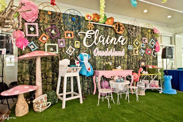 Alice in Wonderland-inspired party backdrop from an Alice in Wonderland Birthday Party on Kara's Party Ideas | KarasPartyIdeas.com (30)