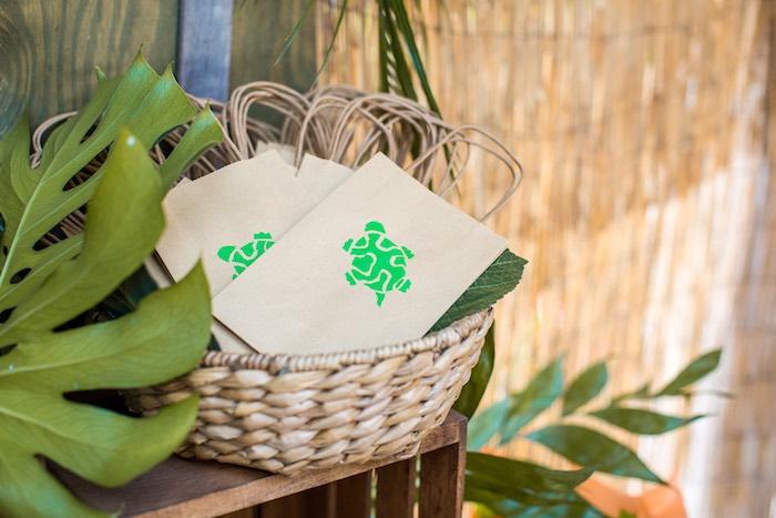 Turtle bags from an American Girl Doll Lea Clark - Rainforest Birthday Party on Kara's Party Ideas   KarasPartyIdeas.com (43)