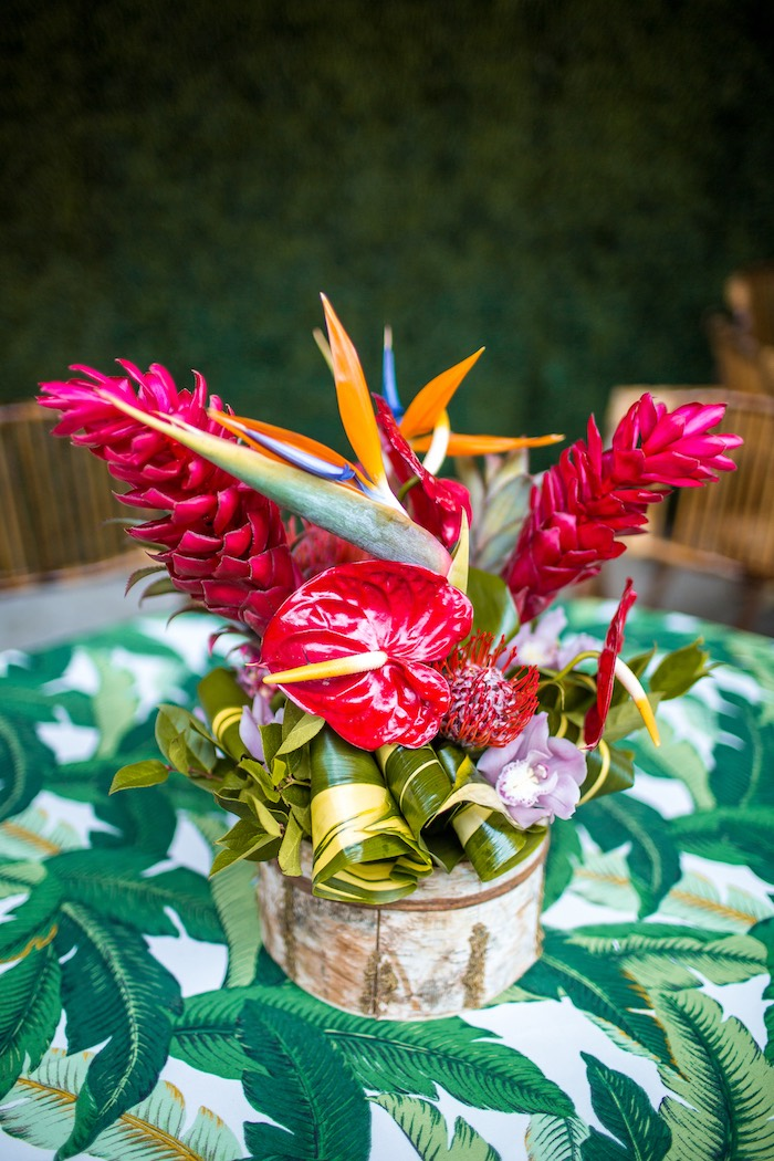 Tropical centerpiece from an American Girl Doll Lea Clark - Rainforest Birthday Party on Kara's Party Ideas | KarasPartyIdeas.com (37)