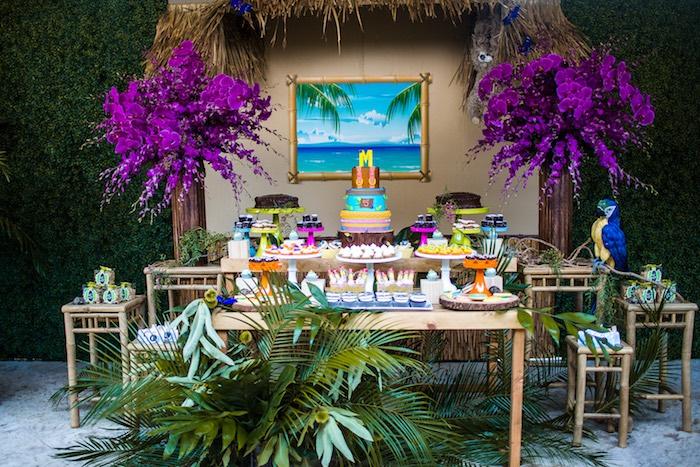 Dessert table from an American Girl Doll Lea Clark - Rainforest Birthday Party on Kara's Party Ideas   KarasPartyIdeas.com (34)