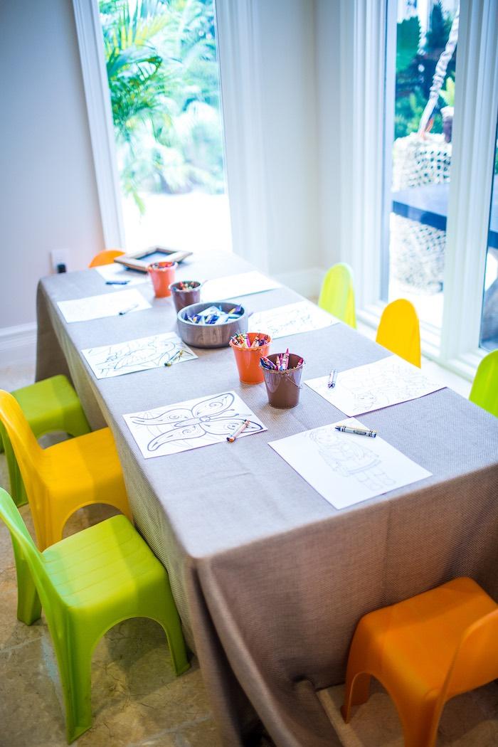 Activity table from an American Girl Doll Lea Clark - Rainforest Birthday Party on Kara's Party Ideas   KarasPartyIdeas.com (17)