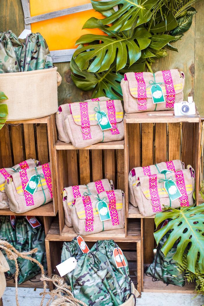 Lea Clark favor bags from an American Girl Doll Lea Clark - Rainforest Birthday Party on Kara's Party Ideas   KarasPartyIdeas.com (47)
