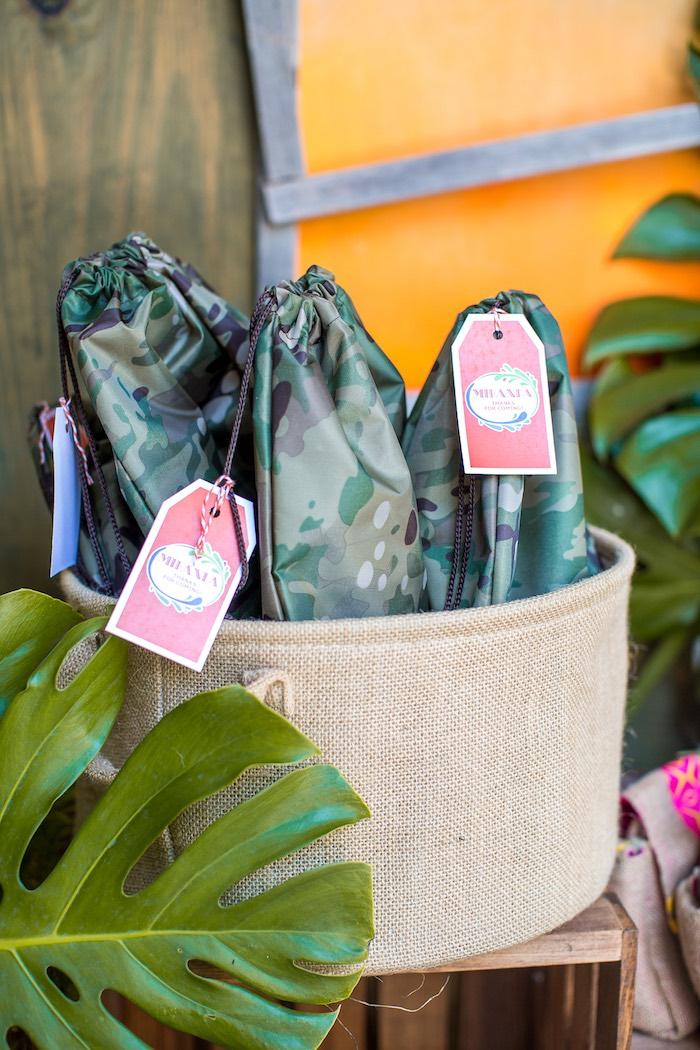 Camo drawstring favor bags from an American Girl Doll Lea Clark - Rainforest Birthday Party on Kara's Party Ideas | KarasPartyIdeas.com (45)