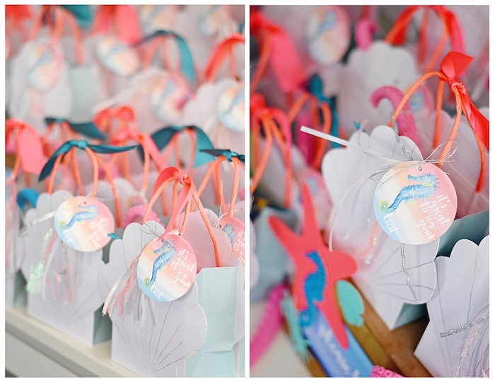 Sea shell favor bags + tags from An Under the Sea Bash on Kara's Party Ideas | KarasPartyIdeas.com (9)