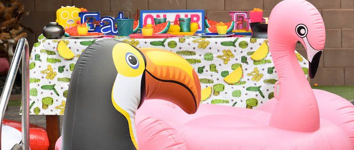 Modern Backyard Pool Party BBQ by Kara's Party Ideas for Tiki Brand | Pool Floats
