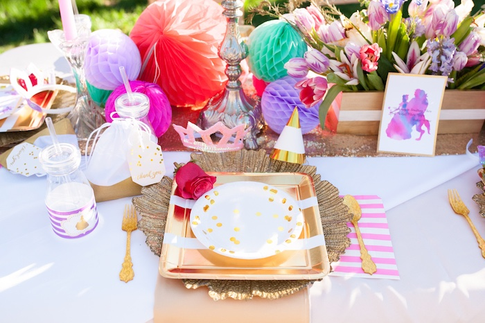 Place setting from a Beauty and the Beast Garden Party on Kara's Party Ideas | KarasPartyIdeas.com (18)