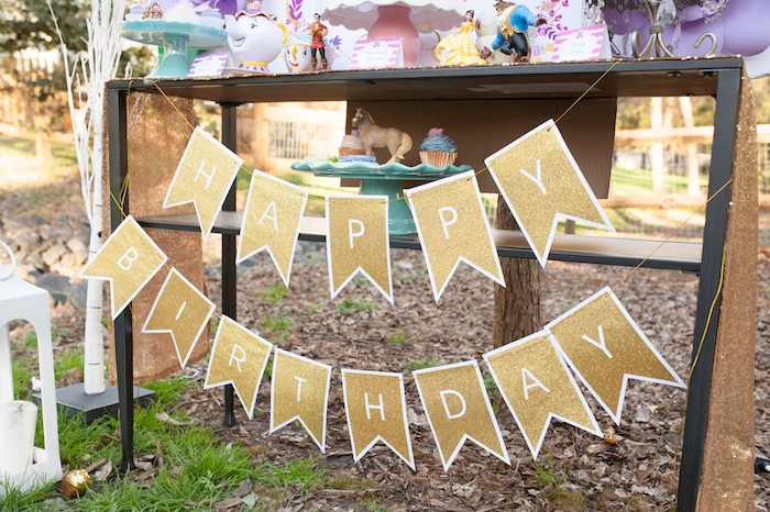 Gold happy birthday banner from a Beauty and the Beast Garden Party on Kara's Party Ideas | KarasPartyIdeas.com (14)