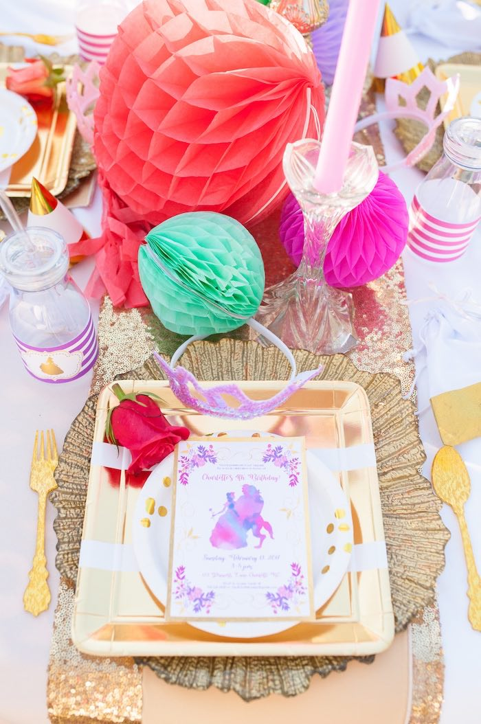 Place setting from a Beauty and the Beast Garden Party on Kara's Party Ideas | KarasPartyIdeas.com (32)