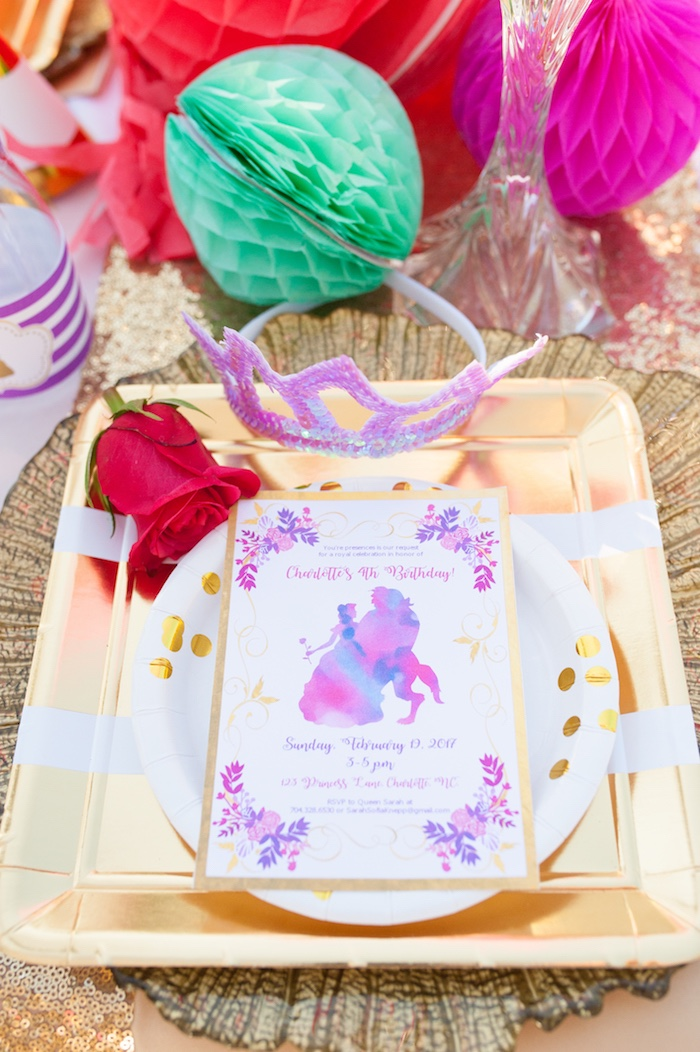 Place setting from a Beauty and the Beast Garden Party on Kara's Party Ideas | KarasPartyIdeas.com (31)