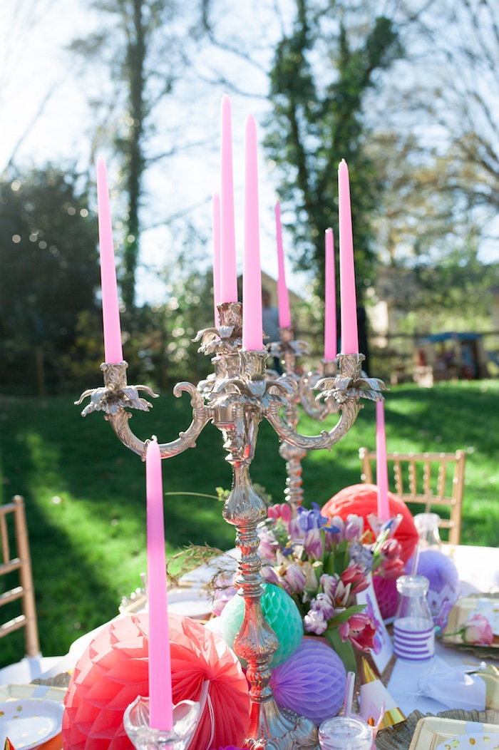 Guest tablescape from a Beauty and the Beast Garden Party on Kara's Party Ideas | KarasPartyIdeas.com (30)