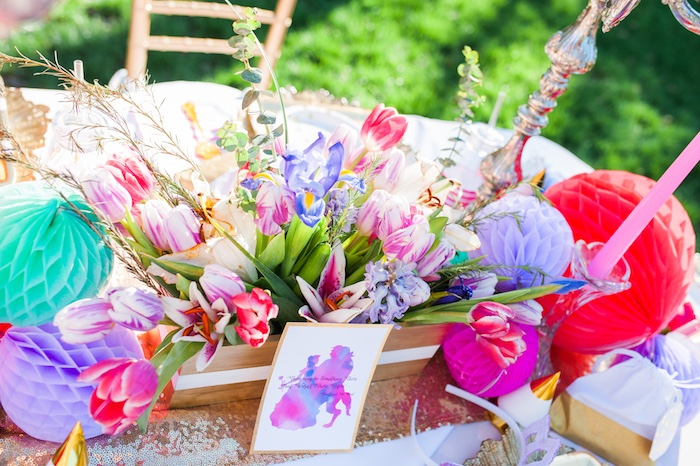 Floral centerpiece from a Beauty and the Beast Garden Party on Kara's Party Ideas | KarasPartyIdeas.com (27)