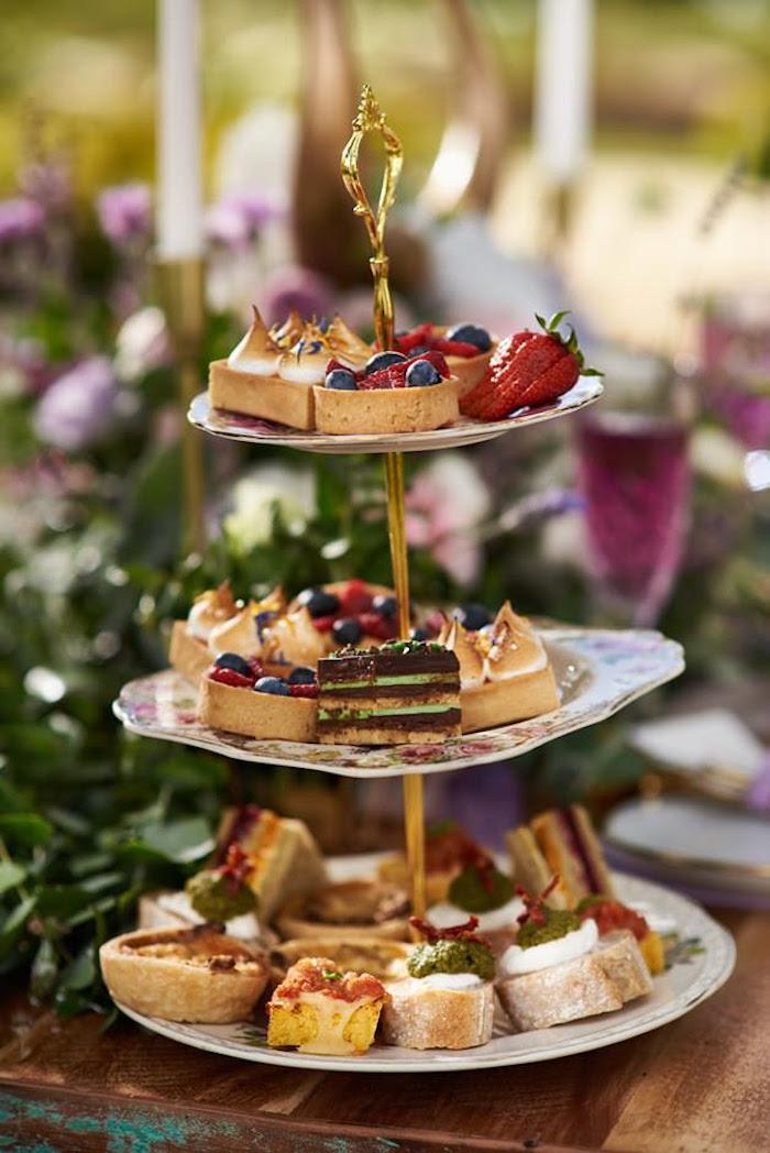 Dessert pedestal from a Boho Outdoor Wedding on Kara's Party Ideas | KarasPartyIdeas.com (14)