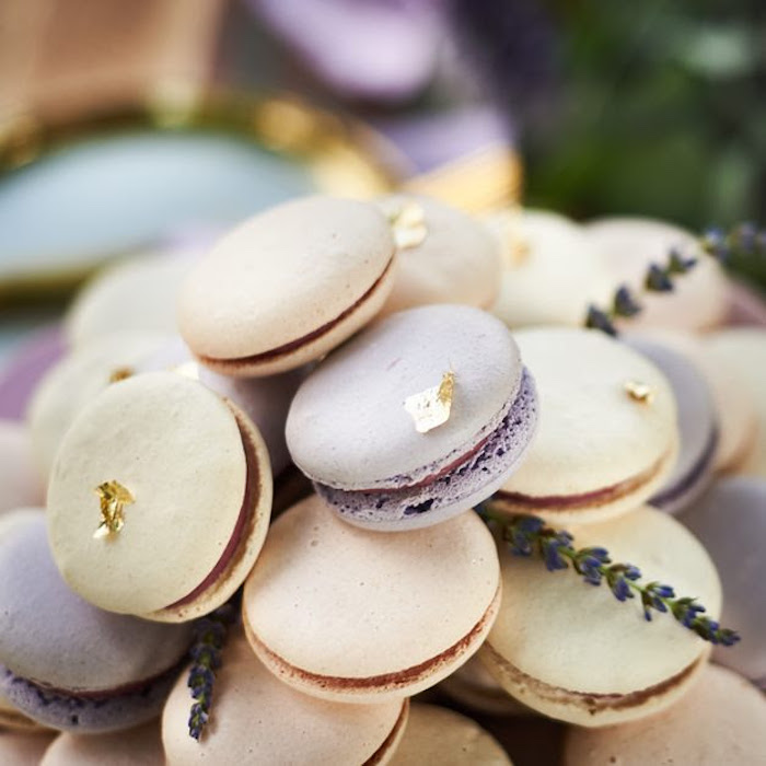 Macarons adorned with gold shavings from a Boho Outdoor Wedding on Kara's Party Ideas | KarasPartyIdeas.com (12)