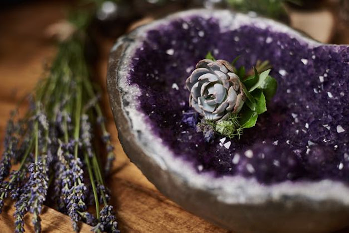Purple geode and succulent from a Boho Outdoor Wedding on Kara's Party Ideas | KarasPartyIdeas.com (11)