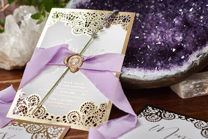Elegant invitation from a Boho Outdoor Wedding on Kara's Party Ideas | KarasPartyIdeas.com (9)
