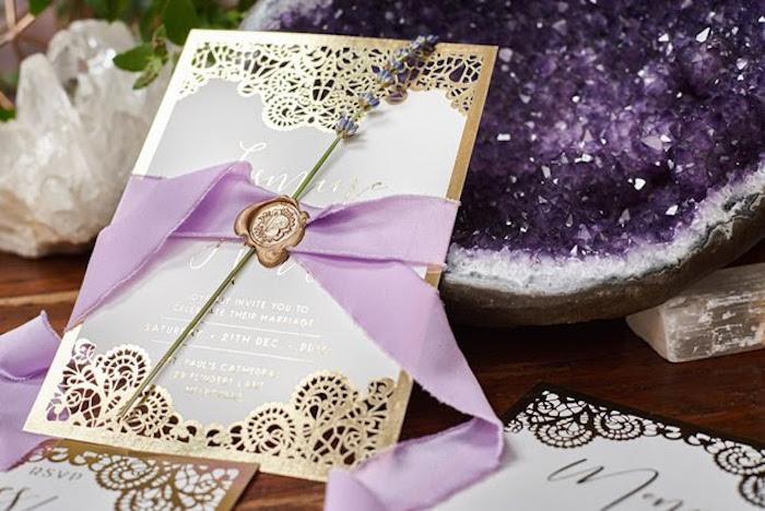 Elegant invitation from a Boho Outdoor Wedding on Kara's Party Ideas | KarasPartyIdeas.com (9)