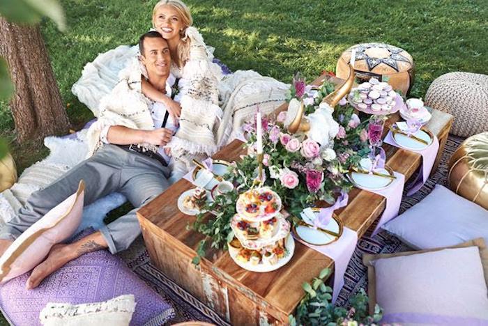 Dining table from a Boho Outdoor Wedding on Kara's Party Ideas | KarasPartyIdeas.com (25)