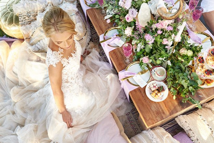 Dining table from a Boho Outdoor Wedding on Kara's Party Ideas | KarasPartyIdeas.com (24)