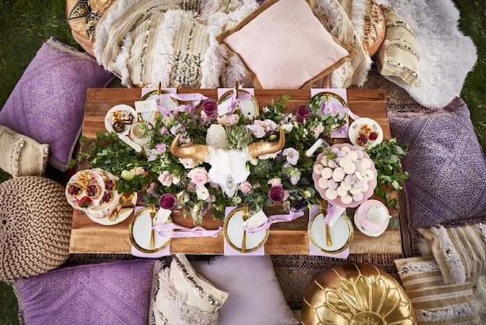 Dining tabletop from a Boho Outdoor Wedding on Kara's Party Ideas | KarasPartyIdeas.com (22)