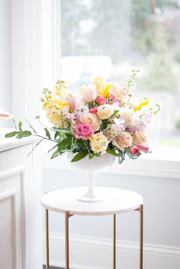 Floral arrangement from a Colorful Garden Party on Kara's Party Ideas | KarasPartyIdeas.com (26)
