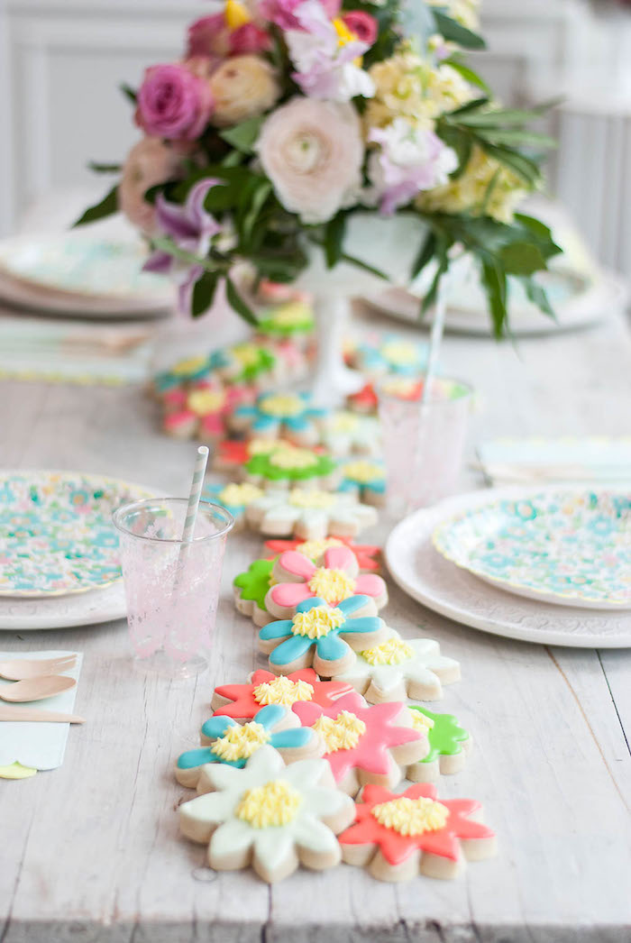 Flower cookie runner from a Colorful Garden Party on Kara's Party Ideas | KarasPartyIdeas.com (21)