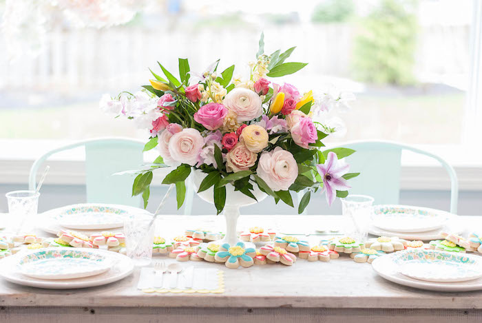 Guest tablescape from a Colorful Garden Party on Kara's Party Ideas | KarasPartyIdeas.com (19)