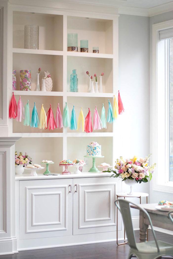 Cake table from a Colorful Garden Party on Kara's Party Ideas | KarasPartyIdeas.com (14)