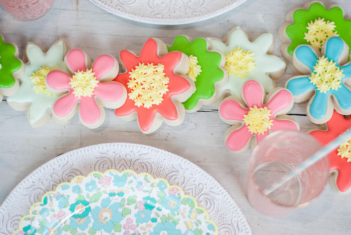 Spring Flower Cookies from a Colorful Garden Party on Kara's Party Ideas | KarasPartyIdeas.com (12)