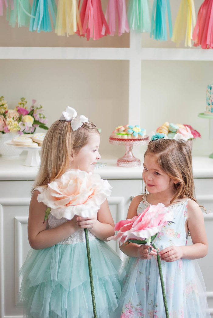 Stemmed paper flowers from a Colorful Garden Party on Kara's Party Ideas | KarasPartyIdeas.com (9)