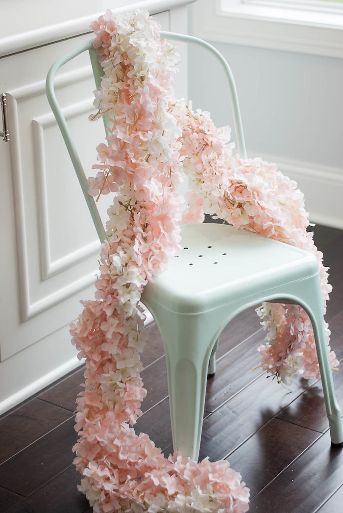 Floral garland from a Colorful Garden Party on Kara's Party Ideas | KarasPartyIdeas.com (5)