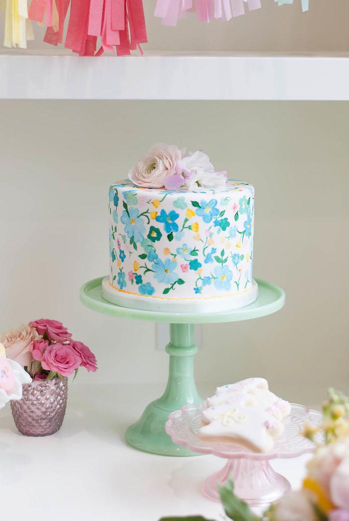 Flower cake from a Colorful Garden Party on Kara's Party Ideas | KarasPartyIdeas.com (33)