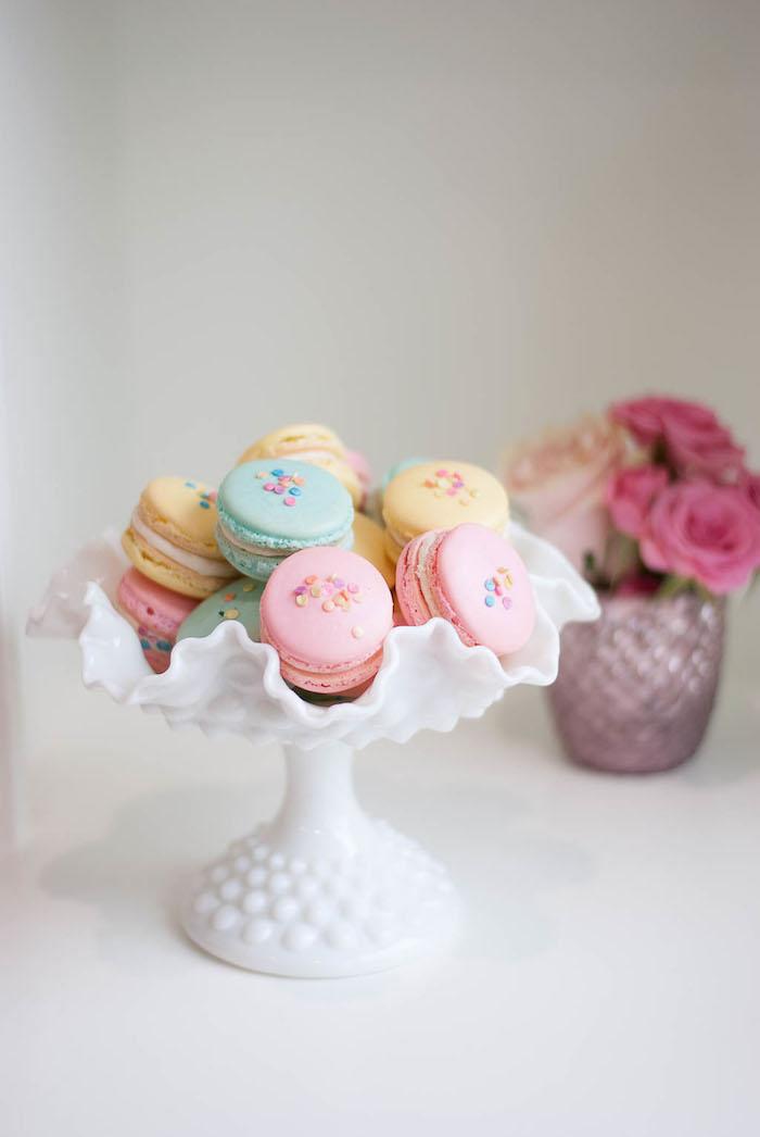 Macarons from a Colorful Garden Party on Kara's Party Ideas | KarasPartyIdeas.com (31)