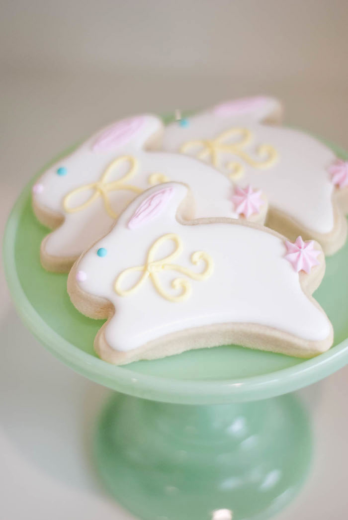 Bunny rabbit cookies from a Colorful Garden Party on Kara's Party Ideas | KarasPartyIdeas.com (29)