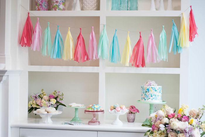 Dessert table from a Colorful Garden Party on Kara's Party Ideas | KarasPartyIdeas.com (27)