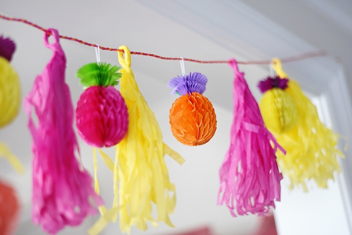 Tassel garland from a Colorful Tutti Frutti Birthday Party on Kara's Party Ideas | KarasPartyIdeas.com (28)