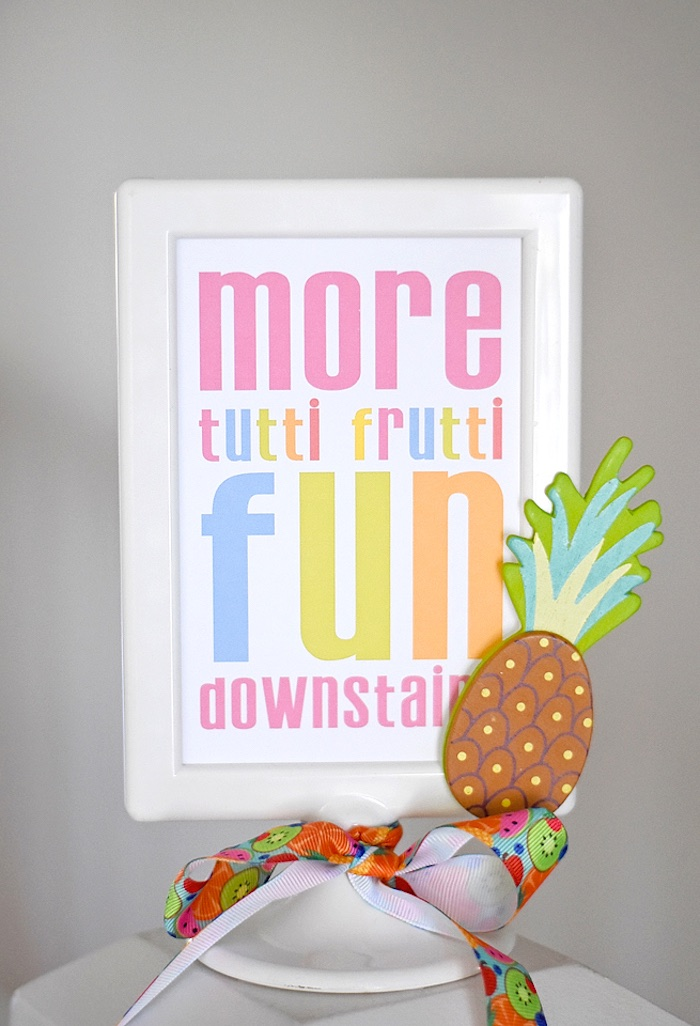 Party signage from a Colorful Tutti Frutti Birthday Party on Kara's Party Ideas | KarasPartyIdeas.com (27)