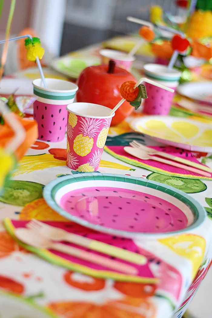 Place setting from a Colorful Tutti Frutti Birthday Party on Kara's Party Ideas | KarasPartyIdeas.com (26)