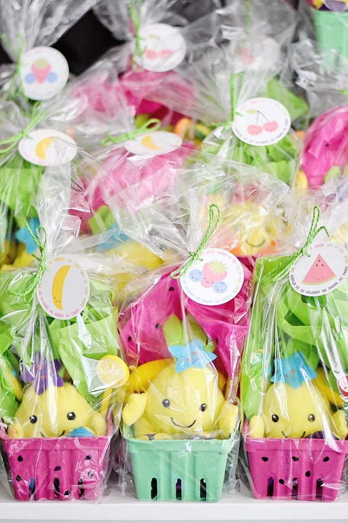 Berry favor boxes wrapped in cellophane from a Colorful Tutti Frutti Birthday Party on Kara's Party Ideas | KarasPartyIdeas.com (25)
