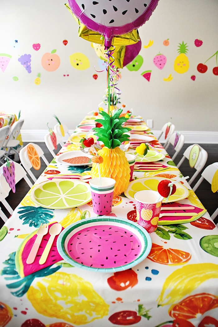 Guest tablescape from a Colorful Tutti Frutti Birthday Party on Kara's Party Ideas | KarasPartyIdeas.com (24)