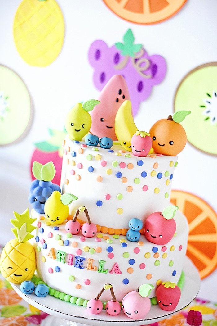 Tutti Frutti Cake from a Colorful Tutti Frutti Birthday Party on Kara's Party Ideas | KarasPartyIdeas.com (23)