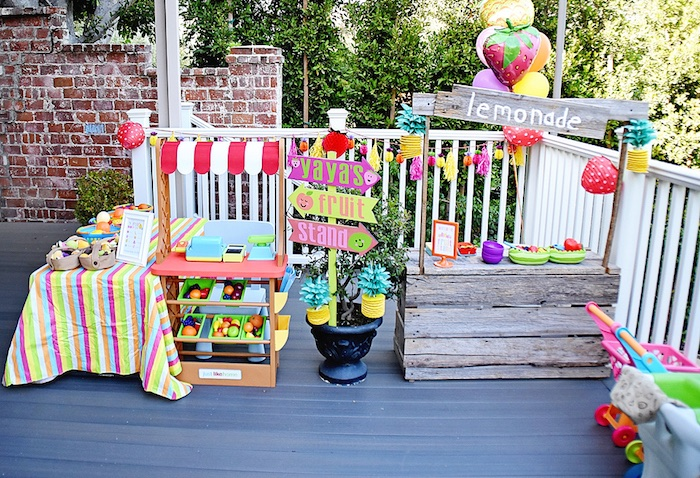 Fruit stands from a Colorful Tutti Frutti Birthday Party on Kara's Party Ideas | KarasPartyIdeas.com (21)
