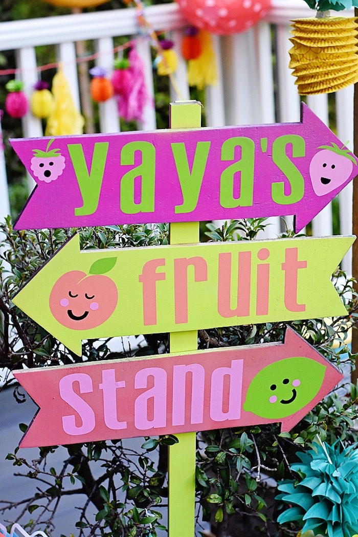 Directional fruit sign from a Colorful Tutti Frutti Birthday Party on Kara's Party Ideas | KarasPartyIdeas.com (20)
