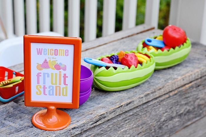 Fruit stand decor from a Colorful Tutti Frutti Birthday Party on Kara's Party Ideas | KarasPartyIdeas.com (19)