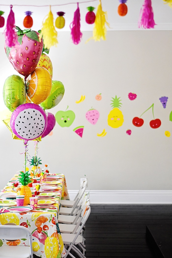 Guest table + decor from a Colorful Tutti Frutti Birthday Party on Kara's Party Ideas | KarasPartyIdeas.com (17)
