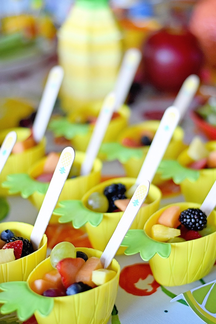 Pineapple fruit cups from a Colorful Tutti Frutti Birthday Party on Kara's Party Ideas | KarasPartyIdeas.com (15)