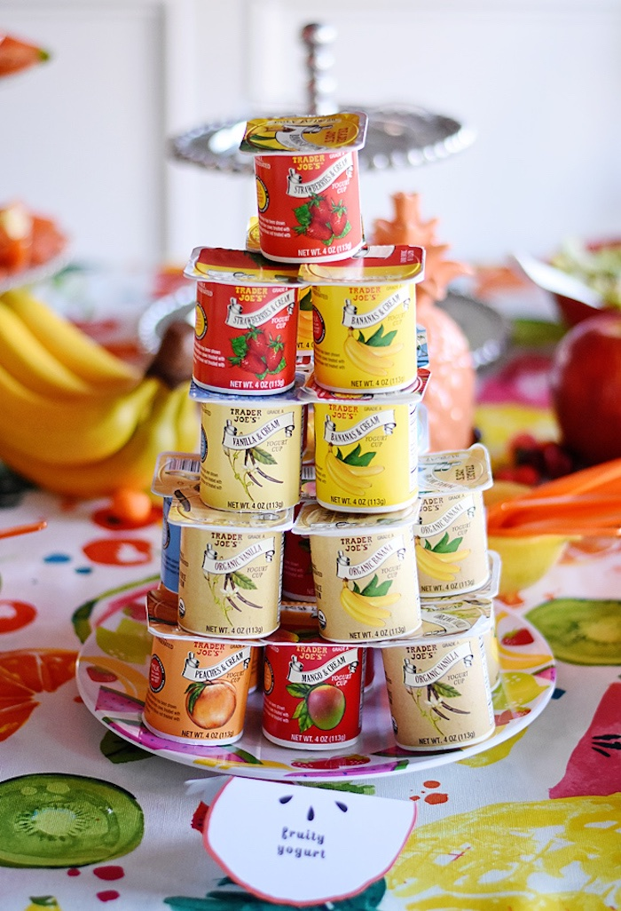 Yogurt cups from a Colorful Tutti Frutti Birthday Party on Kara's Party Ideas | KarasPartyIdeas.com (14)