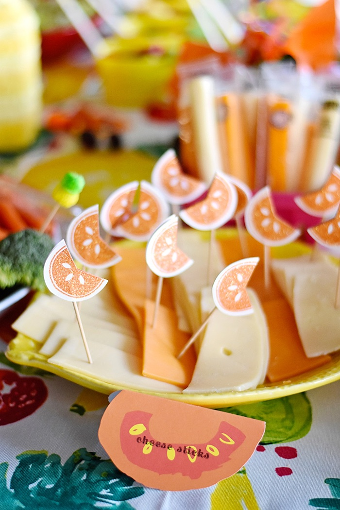 Cheese slices from a Colorful Tutti Frutti Birthday Party on Kara's Party Ideas | KarasPartyIdeas.com (13)