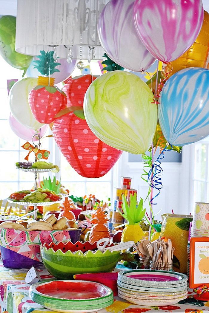 Food table from a Colorful Tutti Frutti Birthday Party on Kara's Party Ideas | KarasPartyIdeas.com (12)