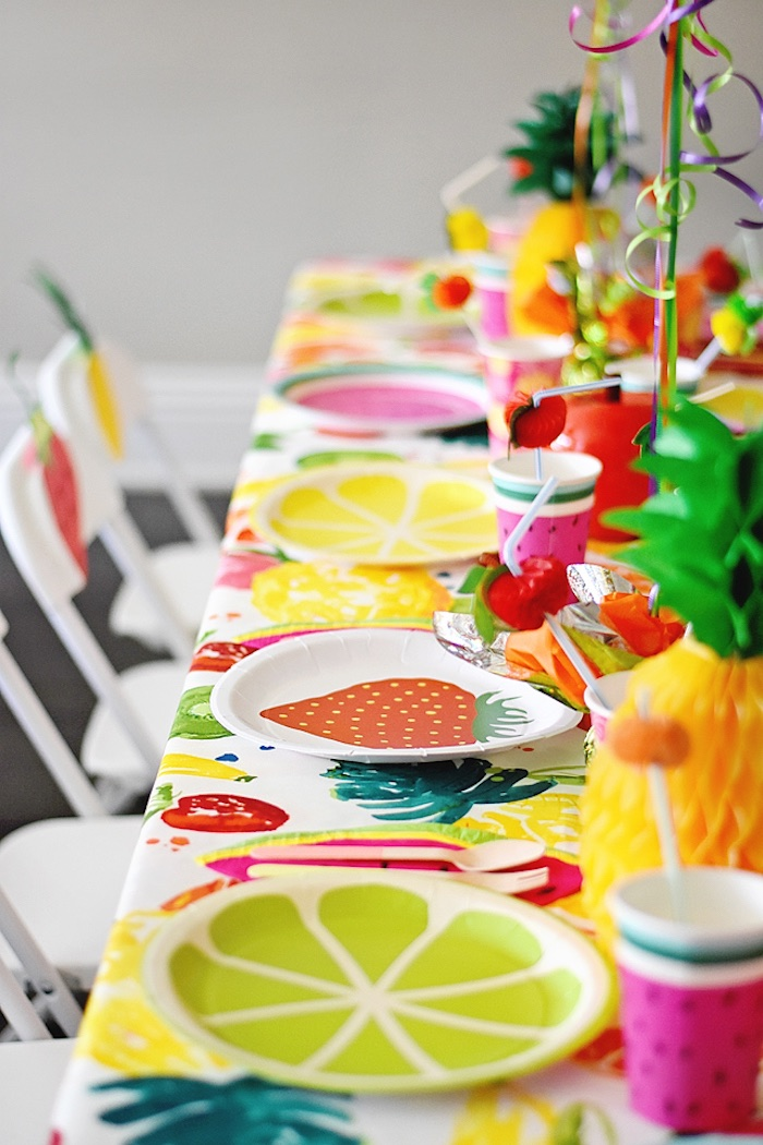 Fruit plates from a Colorful Tutti Frutti Birthday Party on Kara's Party Ideas | KarasPartyIdeas.com (9)