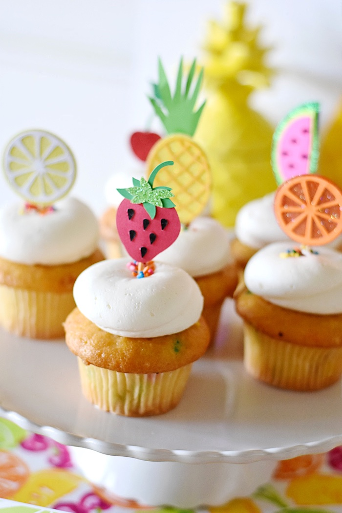 Fruit cupcakes from a Colorful Tutti Frutti Birthday Party on Kara's Party Ideas | KarasPartyIdeas.com (8)